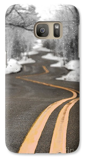 Galaxy Case featuring the photograph A Winter Drive Over A Winding Road by Mark David Zahn