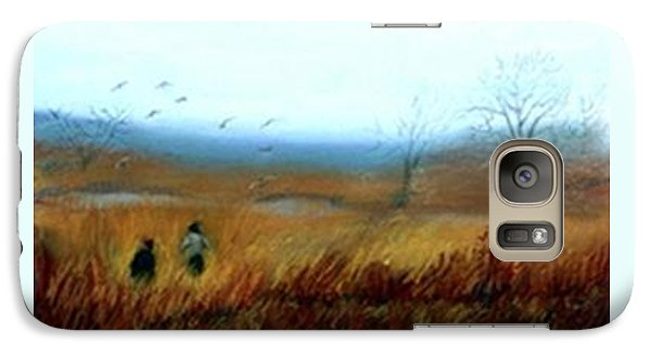 Galaxy Case featuring the painting A Winter Walk by Gail Kirtz