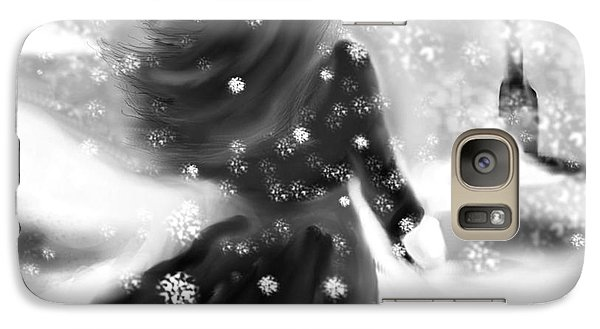 Galaxy Case featuring the drawing A Winters Walk by Lori  Lovetere