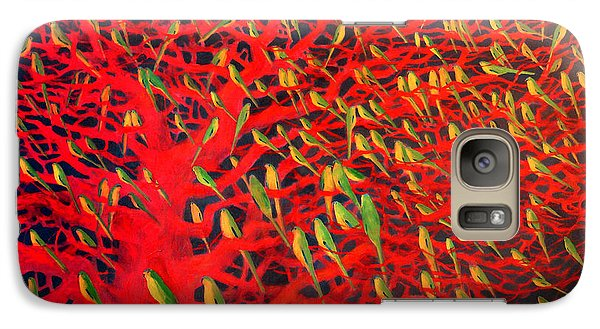 About 180 Orange Bellied Parrots  Galaxy S7 Case by Charlie Baird