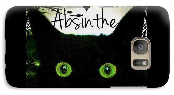 Galaxy Case featuring the digital art Absinthe Black Cat by Absinthe Art By Michelle LeAnn Scott