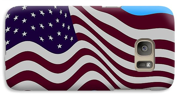 Abstract Burgundy Grey Violet 50 Star American Flag Flying Cropped Galaxy S7 Case