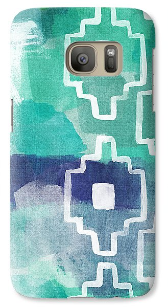 Abstract Galaxy S7 Case - Abstract Aztec- Contemporary Abstract Painting by Linda Woods
