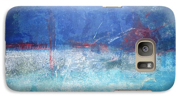 Galaxy Case featuring the painting Abstract Blue Horizon by John Fish