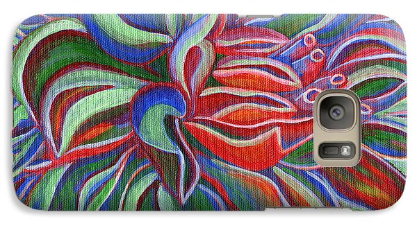 Galaxy Case featuring the painting Abstract Flower by Janice Dunbar