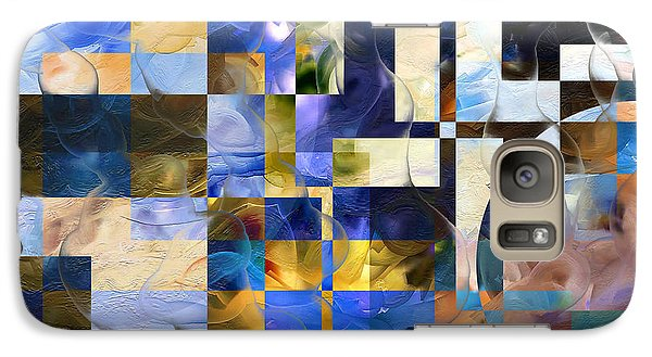 Galaxy Case featuring the painting Abstract In Blue And White by Curtiss Shaffer