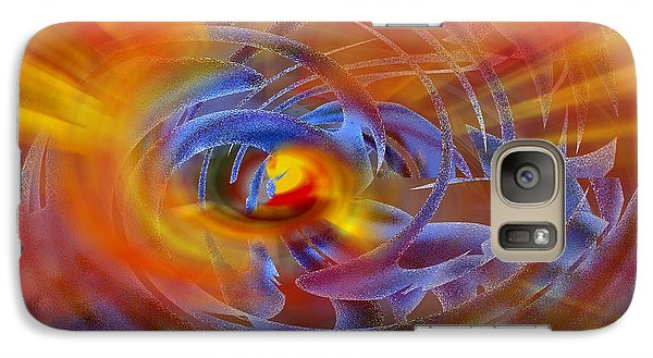 Galaxy Case featuring the digital art Abstract In Fire And Blue by rd Erickson