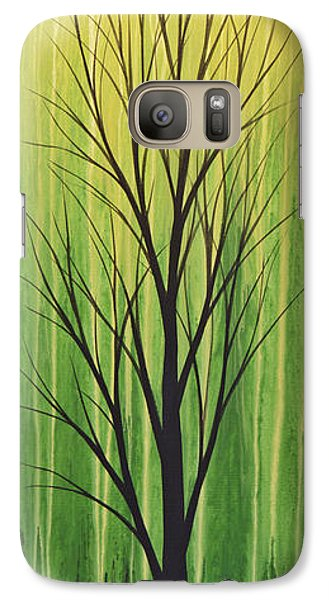 Galaxy Case featuring the painting Abstract Landscape Original Trees Art Print Painting ... Twilight Trees #3 by Amy Giacomelli