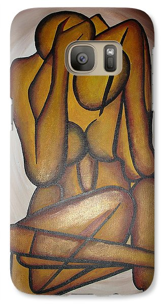 Galaxy Case featuring the painting Abstract Lovers by Tracey Harrington-Simpson