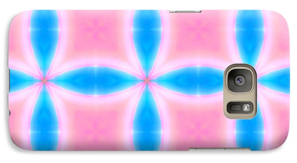 Galaxy Case featuring the digital art Abstract Pattern Of Pink And Blue Squares by Shelley Neff