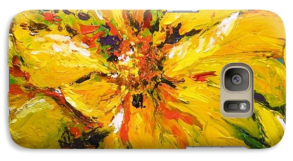 Galaxy Case featuring the painting Abstract Sunflower by Lori Ippolito