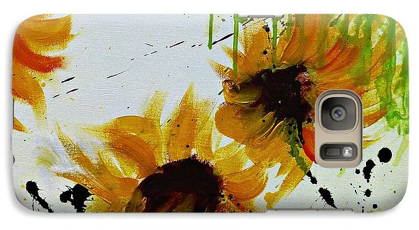 Galaxy Case featuring the painting Abstract Sunflowers by Ismeta Gruenwald