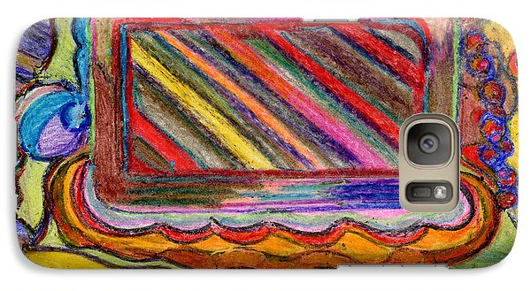 Galaxy Case featuring the drawing Abstract Television And Shapes by Lenora  De Lude