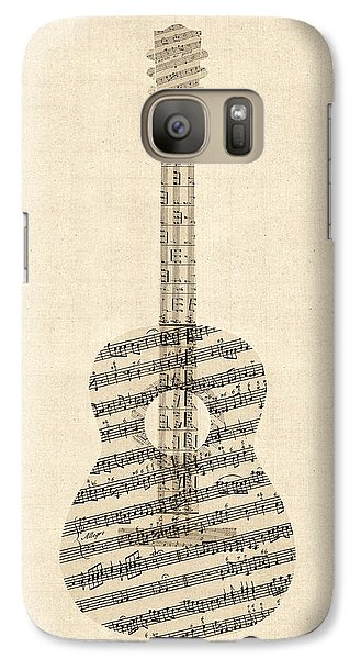 Acoustic Guitar Old Sheet Music Galaxy S7 Case