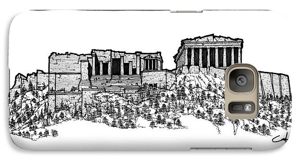 Galaxy Case featuring the drawing Acropolis Of Athens by Calvin Durham