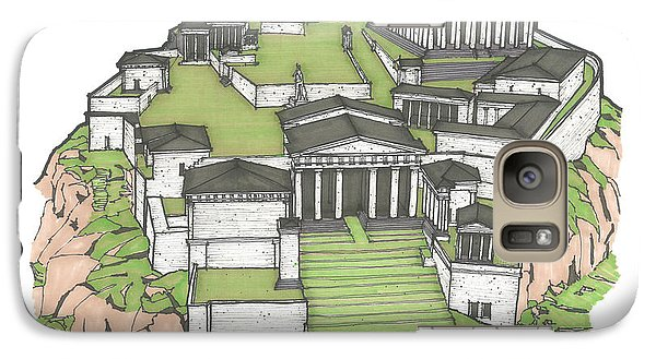 Galaxy Case featuring the drawing Acropolis Of Athens Restored by Calvin Durham