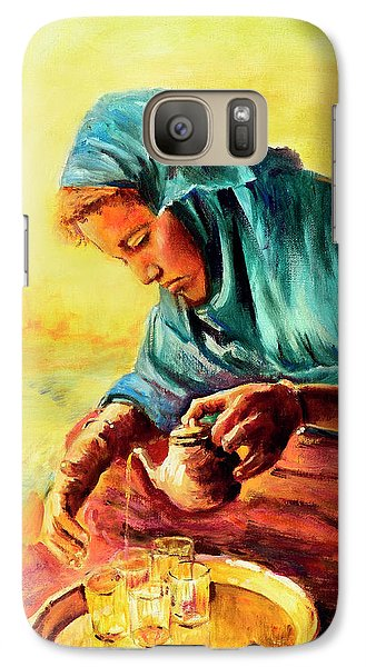 Galaxy Case featuring the painting African Chai Tea Lady. by Sher Nasser