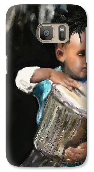 Galaxy Case featuring the painting African Drummer Boy by Vannetta Ferguson