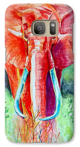 Galaxy Case featuring the painting African Elephant In Red by Daniel Janda