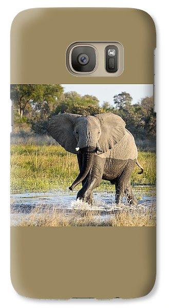 Galaxy Case featuring the photograph African Elephant Mock-charging by Liz Leyden