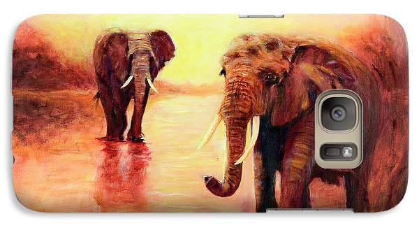 Galaxy Case featuring the painting African Elephants At Sunset In The Serengeti by Sher Nasser