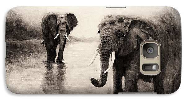 Galaxy Case featuring the painting African Elephants At Sunset by Sher Nasser