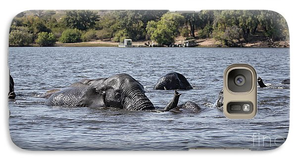 Galaxy Case featuring the photograph African Elephants Swimming In The Chobe River by Liz Leyden