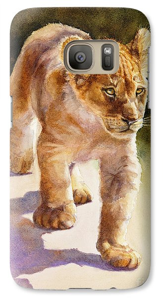 Galaxy Case featuring the painting African Lion Cub by Bonnie Rinier