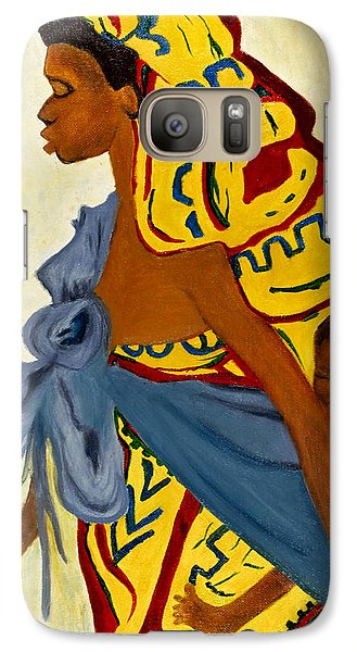 Galaxy Case featuring the painting African Mother And Child by Sher Nasser