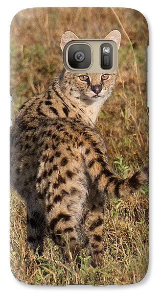 Galaxy Case featuring the photograph African Serval Cat 1 by Chris Scroggins