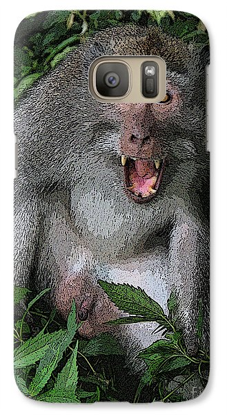 Galaxy Case featuring the photograph  Aggressive Monkey From Bali by Sergey Lukashin