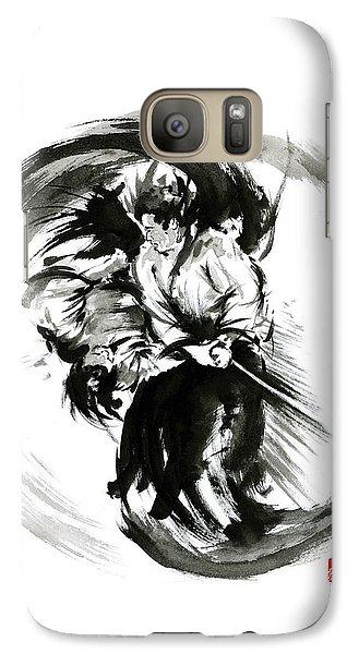 Aikido Techniques Martial Arts Sumi-e Black White Round Circle Design Yin Yang Ink Painting Watercol Galaxy Case by Mariusz Szmerdt