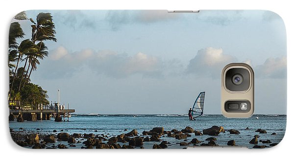 Galaxy Case featuring the photograph Aina Haina Windsurfer 1 by Leigh Anne Meeks