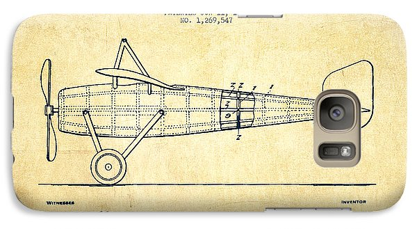 Airplane Patent Drawing From 1918 - Vintage Galaxy Case by Aged Pixel