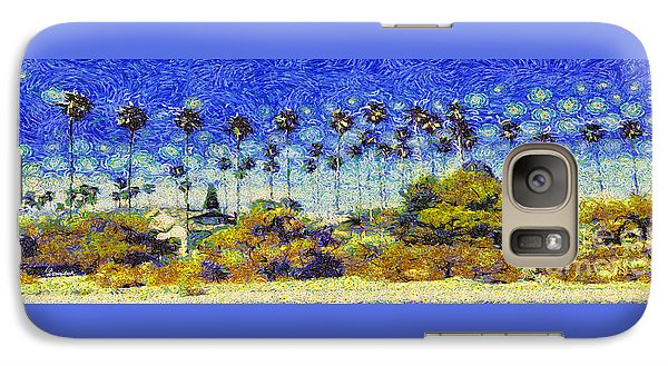 Galaxy Case featuring the painting Alameda Famous Burbank Palm Trees by Linda Weinstock