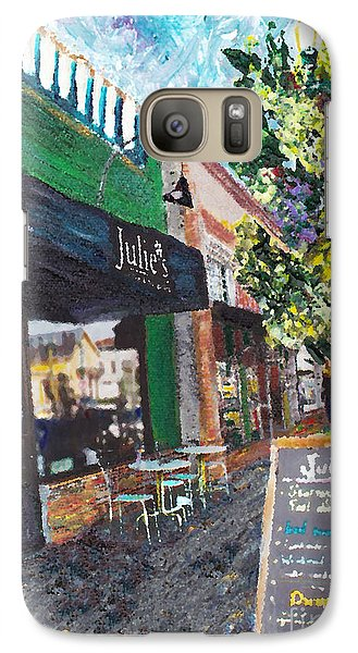 Galaxy Case featuring the painting Alameda Julie's Coffee N Tea Garden by Linda Weinstock