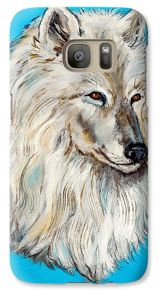 Galaxy Case featuring the painting Alaska White Wolf by Bob and Nadine Johnston