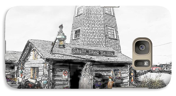 Galaxy Case featuring the photograph Alaska's Salty Dawg Saloon In B/w  by Dyle   Warren