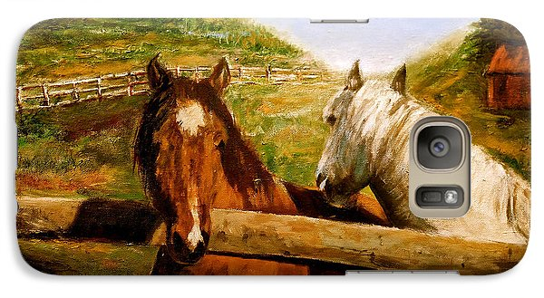 Galaxy Case featuring the painting Alberta Horse Farm by Sher Nasser