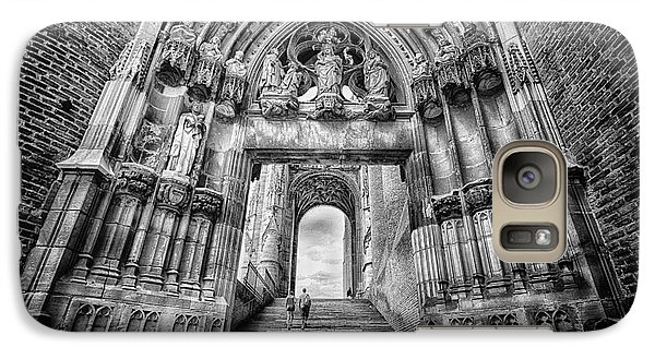 Galaxy Case featuring the photograph Albi Cathedral Arch To Heaven Bw by Jack Torcello