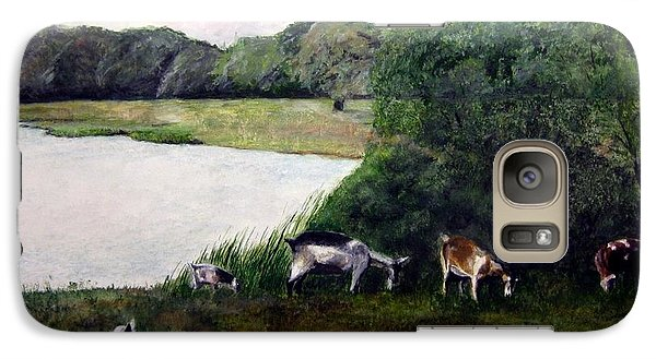 Galaxy Case featuring the painting Alex's Goats by Stan Tenney