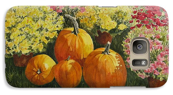 Galaxy Case featuring the painting All About The Pumpkins by Vikki Bouffard