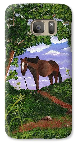 Galaxy Case featuring the painting All Alone by Laura Forde