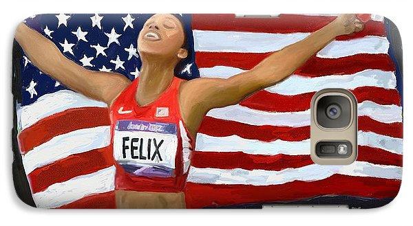 Galaxy Case featuring the digital art Allison Felix Olympian Gold Metalist by Vannetta Ferguson