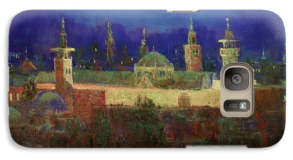 Galaxy Case featuring the painting Almasjed Alamawe At Night - Damascus - Syria by Laila Awad Jamaleldin