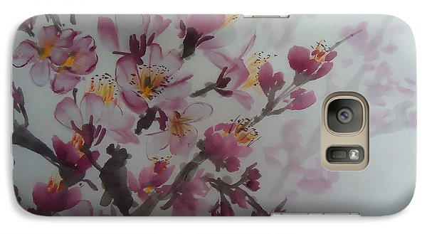 Galaxy Case featuring the painting Almond Flower by Dongling Sun