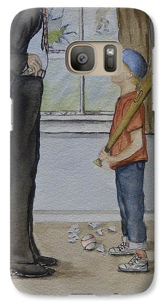Galaxy Case featuring the painting Am I In Trouble Dad... Broken Window by Kelly Mills