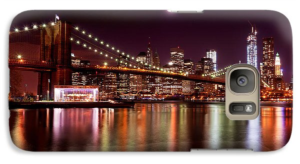 Galaxy Case featuring the photograph Amazing New York Skyline And Brooklyn Bridge With Moon Rising by Mitchell R Grosky