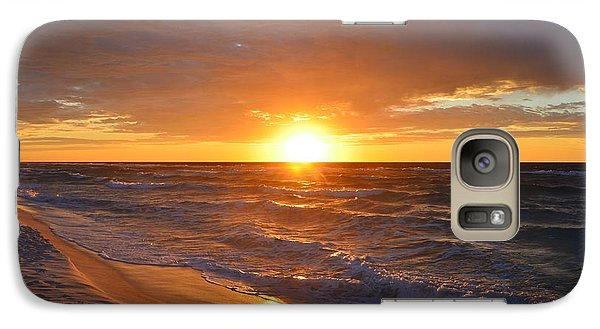 Galaxy Case featuring the photograph Amazing Sunrise Colors And Waves On Navarre Beach by Jeff at JSJ Photography