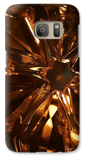 Galaxy Case featuring the photograph Amber Crystal Snowflake by Linda Shafer